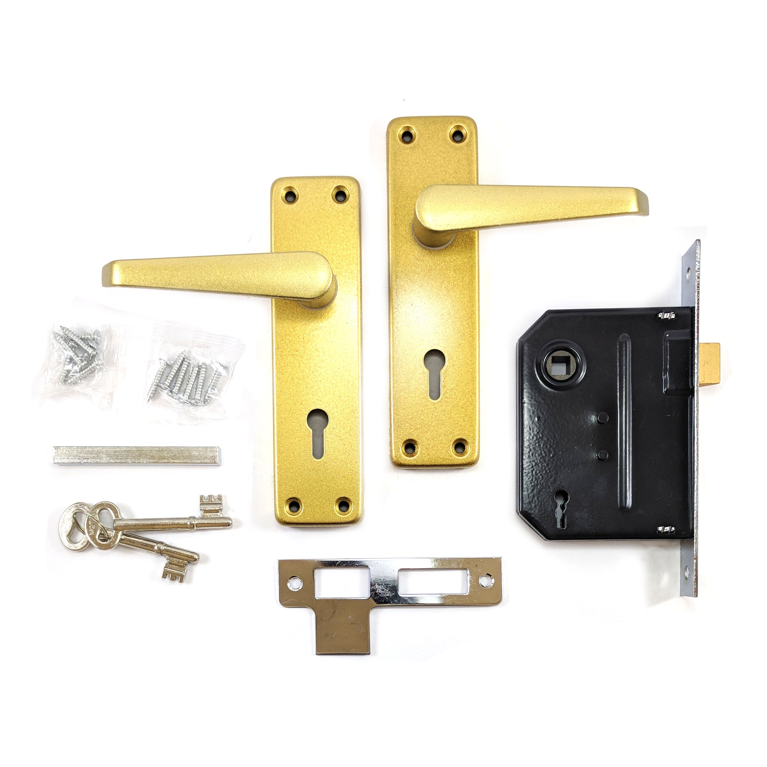 AD Mortice Satin Gold Door Lever Lock